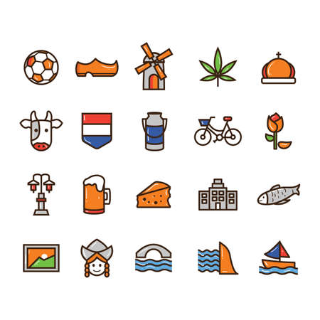 collection of netherlands icons 向量圖像