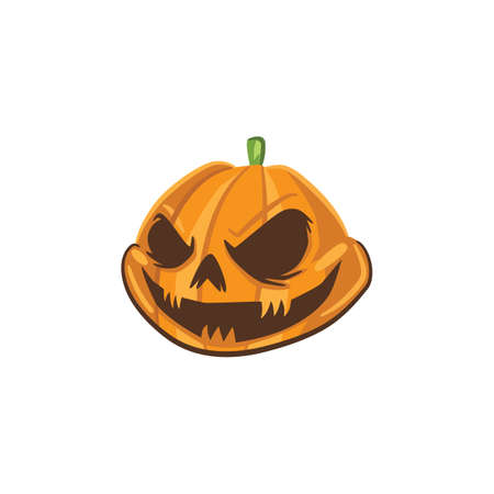 scary carved pumpkin head Illustration