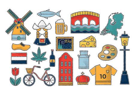 네덜란드 아이콘 세트 스톡 콘텐츠 - 79142872