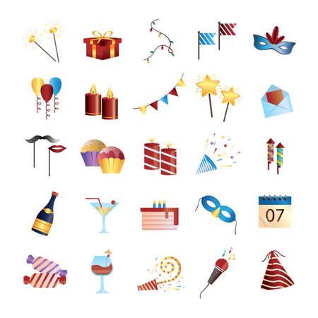 poppers: set of party icons Illustration