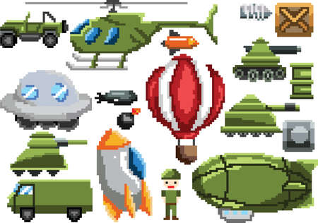 collection of pixel art items
