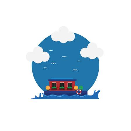 houseboat Illustration