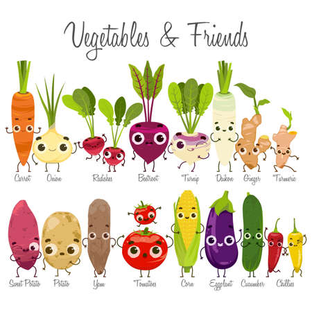 vegetables and friends  イラスト・ベクター素材