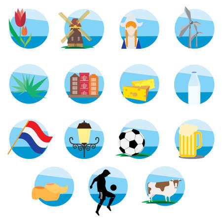 set of netherlands icons Illusztráció