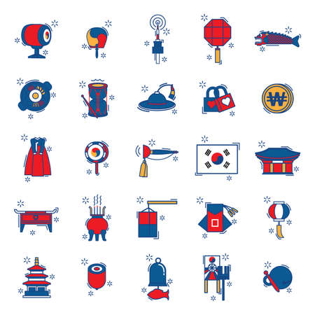 collection of korean items Ilustração