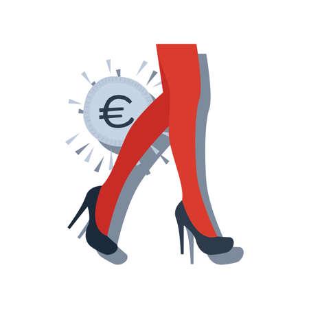 女性のハイヒールと欧州連合の通貨  イラスト・ベクター素材
