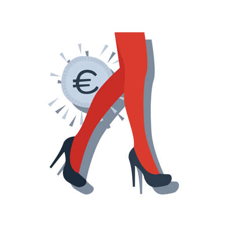 european union currency with female high heels Иллюстрация