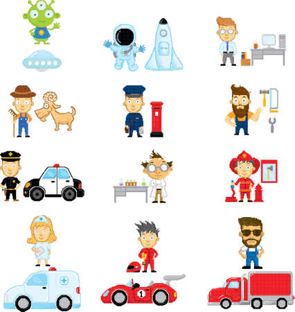 Pixel art characters and occupation collection