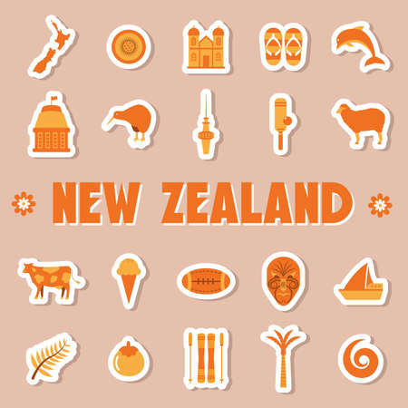 ニュージーランドのアイコンのセット