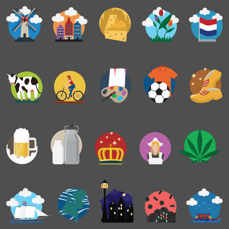 frank: set of netherlands icons Illustration