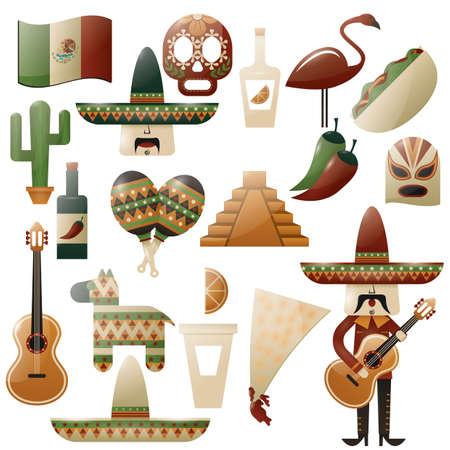 traje mexicano: Conjunto de iconos de méxico