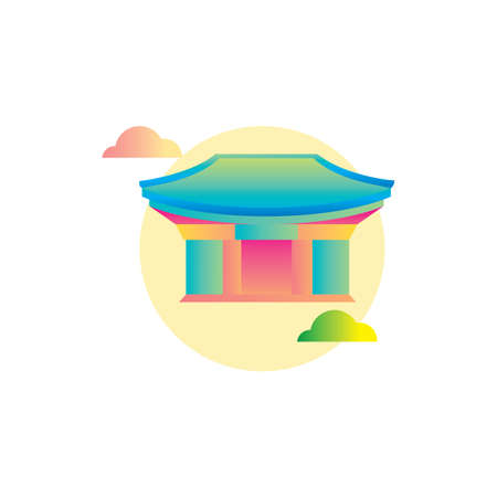 korean temple Illustration