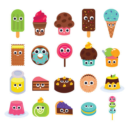 collection of cute food icons