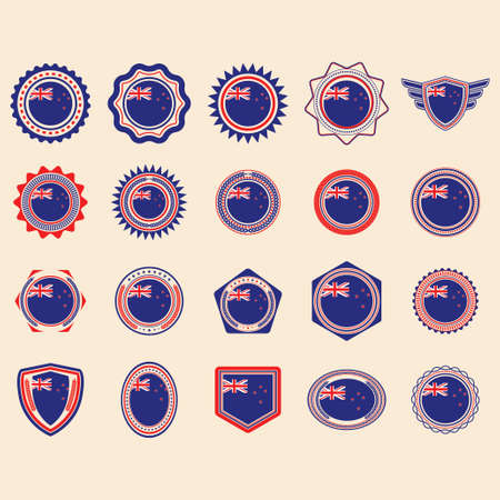 set of new zealand label icons