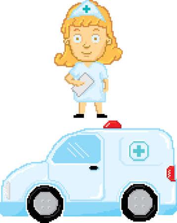 Pixel art nurse with ambulance