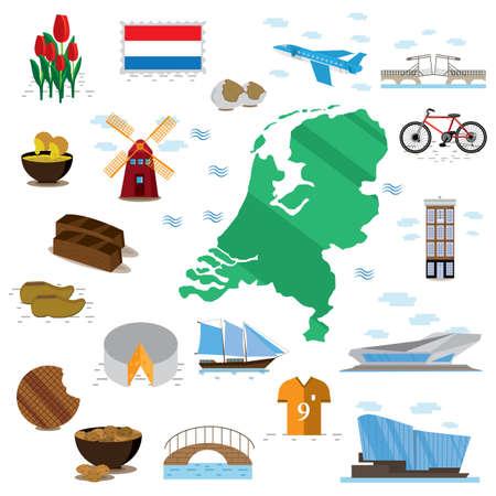 set of netherlands icons 向量圖像