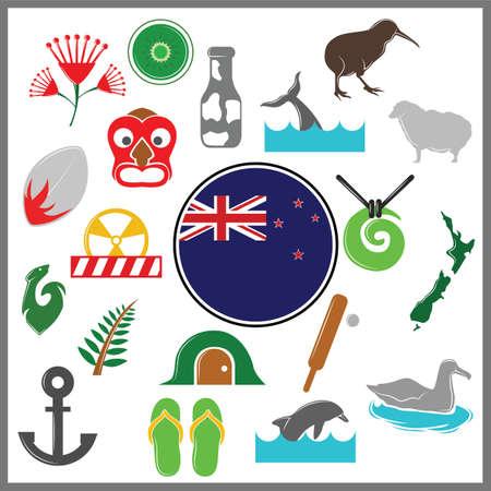 set van Nieuw-Zeeland pictogrammen Stock Illustratie
