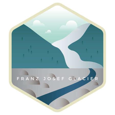 フランツ ・ ジョセフ氷河  イラスト・ベクター素材