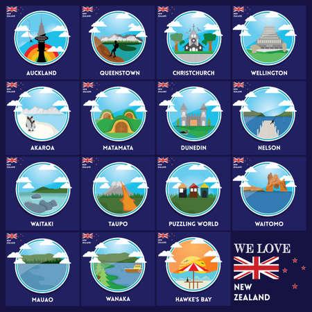 Conjunto de iconos de destinos de nueva zelanda