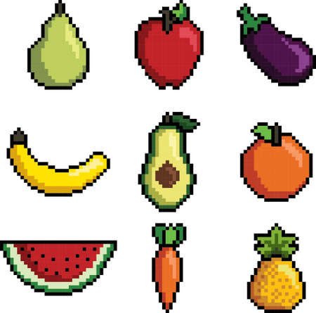 Pixel art fruit and vegetables collection Stock Illustratie