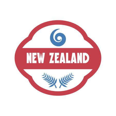 silver fern: new zealand label design Illustration