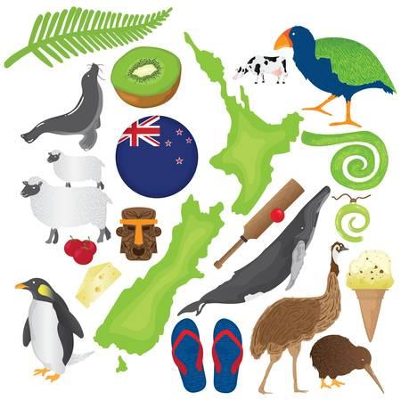 Conjunto de iconos de Nueva Zelanda Ilustración de vector