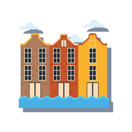 암스테르담에서 운하에 전통적인 네덜란드 건물