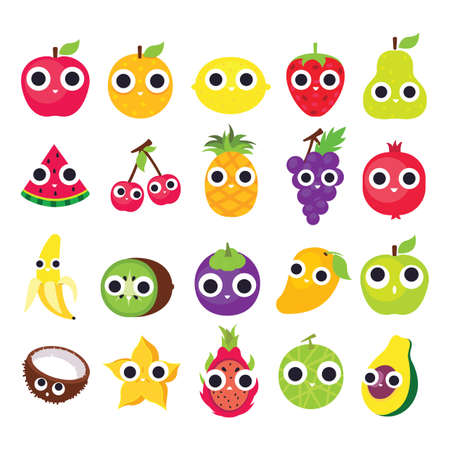 collection of cute fruits