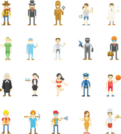 Pixel art of people and occupation