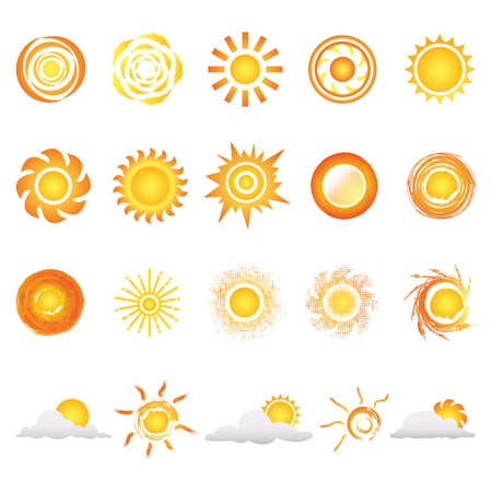 collection of sunny logo elements Illustration