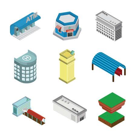 set of isometric icons