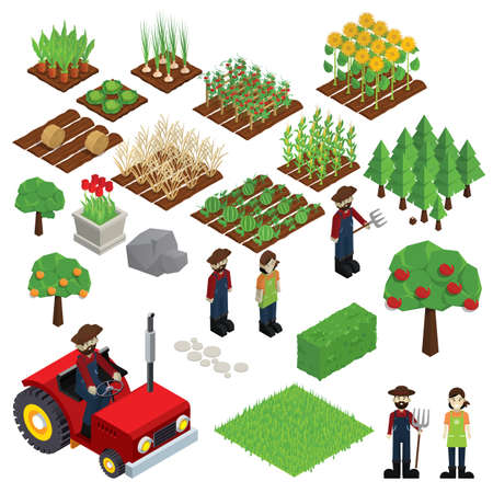 set of farm icons 向量圖像