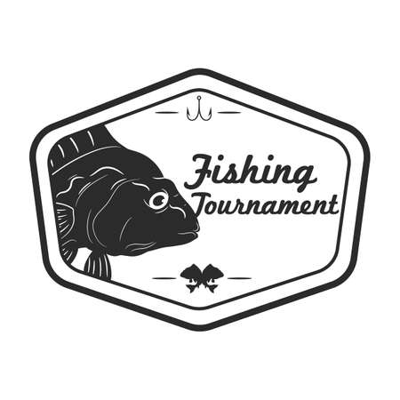Fishing tournament label Çizim