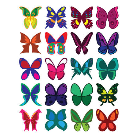 set of butterfly design icons