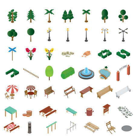 set of isometric icons