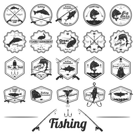 Set of fishing labels