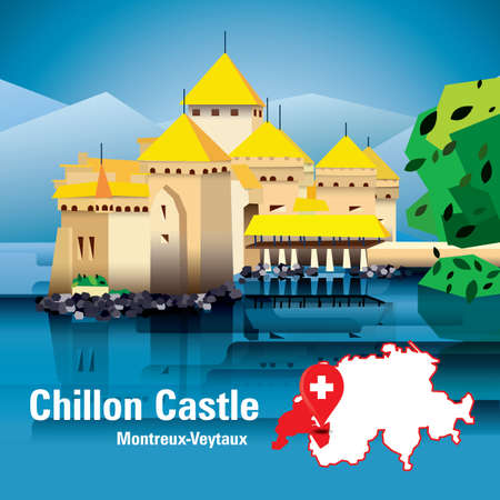 chillon castle Ilustrace