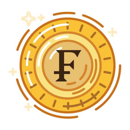 swiss franc currency coin Reklamní fotografie - 79216734
