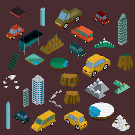 collection of isometric items