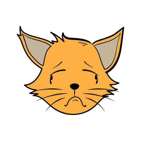 漫画の猫が泣いています。  イラスト・ベクター素材