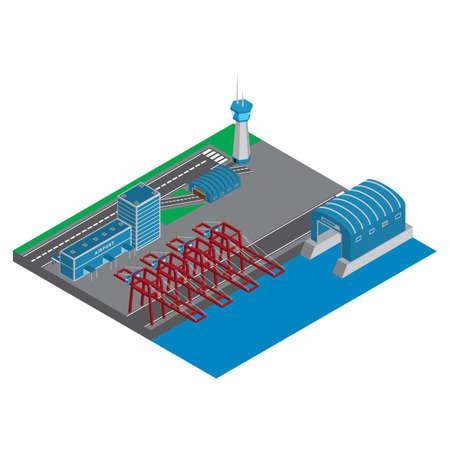 等尺性空港と港  イラスト・ベクター素材