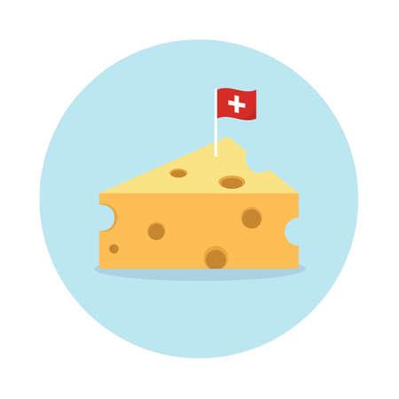 青の円形の背景にフラグを持つチーズします。