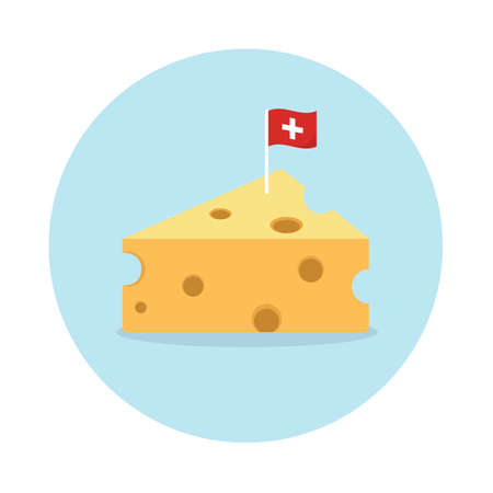 Cheese with flag on blue circle background. Иллюстрация