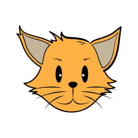 笑みを浮かべて漫画猫  イラスト・ベクター素材