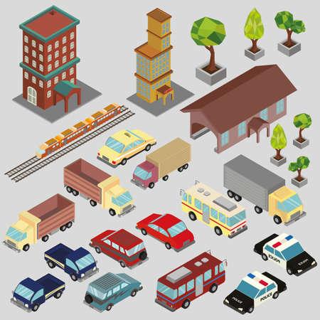 等尺性の建物や車  イラスト・ベクター素材