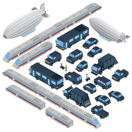 Collection de véhicules isométriques Banque d'images - 79217003