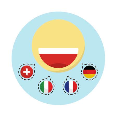 이모티콘 (유럽 국가 포함) 일러스트