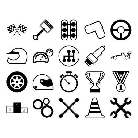 set race-iconen Stock Illustratie