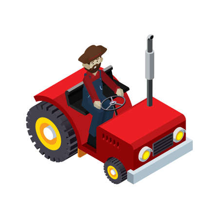 plow: farmer on tractor