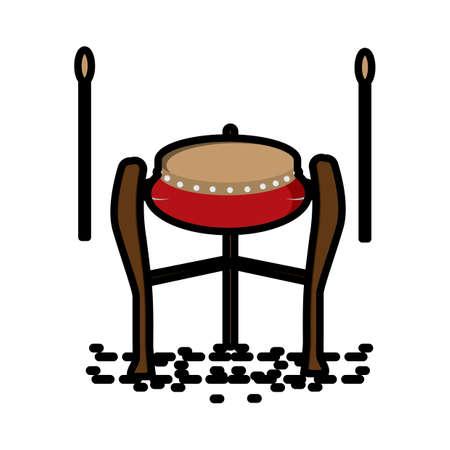 taiwanese traditional drum Illustration